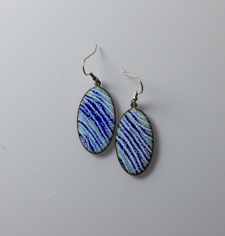 Blue stripes Oval earrings.